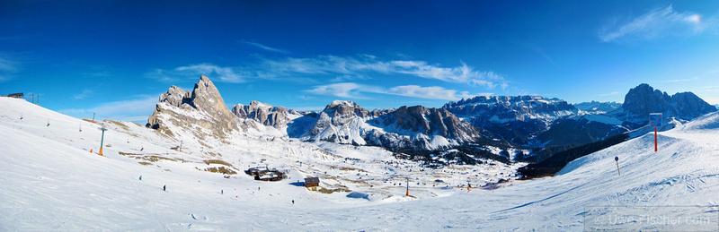 Dolomites skiing area, Wolkenstein, Val di gardena